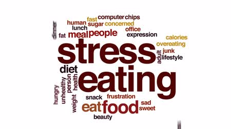 preocupar se : Stress eating animated word cloud, text design animation.