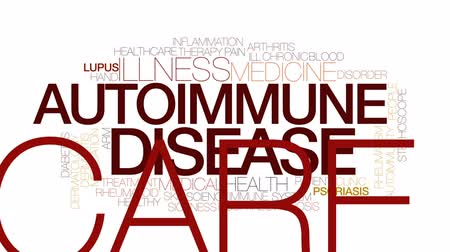 doença : Autoimmune disease animated word cloud, text design animation. Kinetic typography.