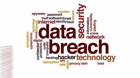 vulnerability : Data breach animated word cloud, text design animation. Stock Footage