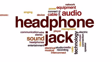 conector : Headphone jack animated word cloud, text design animation.