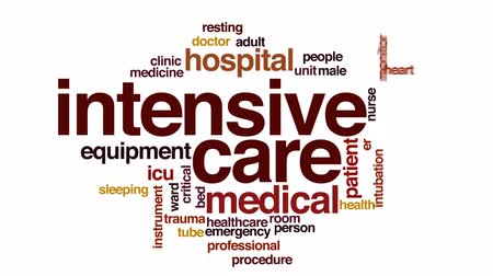 intensive care unit : Intensive care animated word cloud, text design animation.
