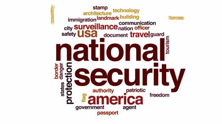 damga : National security animated word cloud, text design animation. Stok Video