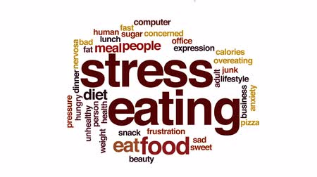 nervosa : Stress eating animated word cloud, text design animation.