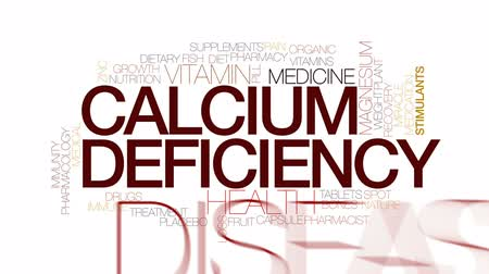 bol : Calcium defficiency animated word cloud, text design animation. Kinetic typography. Wideo