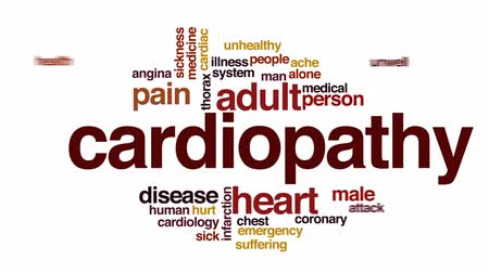 şartlar : Cardiopathy animated word cloud, text design animation.