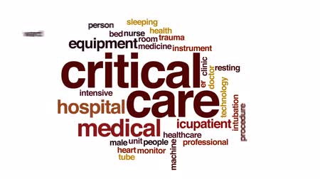 intensive care unit : Critical care animated word cloud, text design animation.