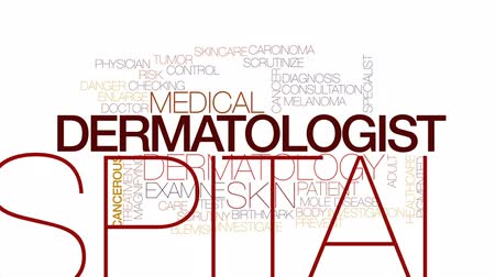 büyütmek : Dermatologist animated word cloud, text design animation. Kinetic typography. Stok Video