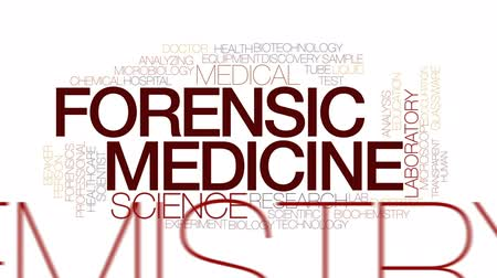 forensic science : Forensic medicine animated word cloud, text design animation. Kinetic typography. Stock Footage