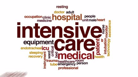 ér : Intensive care animated word cloud, text design animation.