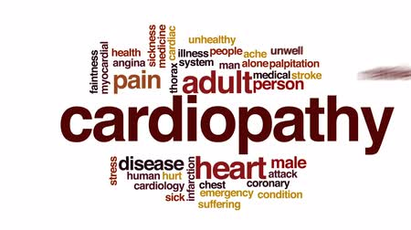 coronary : Cardiopathy animated word cloud, text design animation.