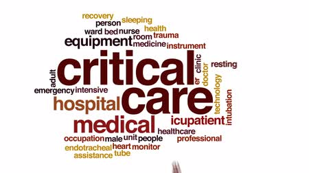 heart monitor : Critical care animated word cloud, text design animation.