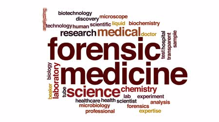 forensic : Forensic medicine animated word cloud, text design animation.
