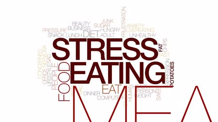 nervosa : Stress eating animated word cloud, text design animation. Kinetic typography.