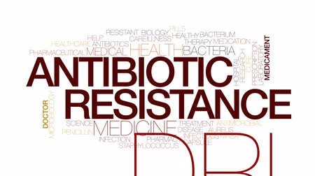 antimicrobial : Antibiotic resistance animated word cloud, text design animation. Kinetic typography.