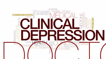 preocupar se : Clinical depression animated word cloud, text design animation. Kinetic typography.