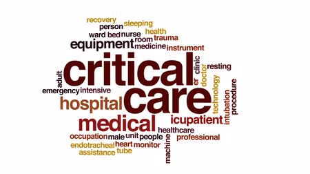 ér : Critical care animated word cloud, text design animation.