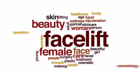 омоложение : Facelift animated word cloud, text design animation.