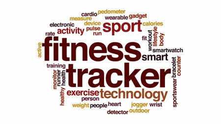 pedometer : Fitness tracker animated word cloud, text design animation.