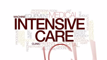 ér : Intensive care animated word cloud, text design animation. Kinetic typography.