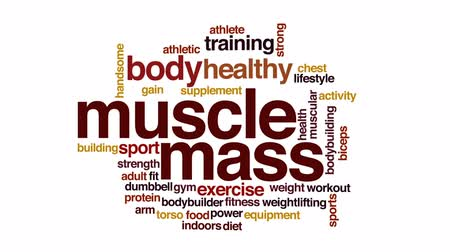 besinler : Muscle mass animated word cloud, text design animation.