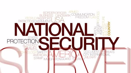 fenyegetés : National security animated word cloud, text design animation.Kinetic typography.