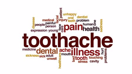 лечение зубов : Toothache animated word cloud, text design animation.