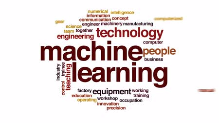 интерн : Machine learning animated word cloud, text design animation. Стоковые видеозаписи