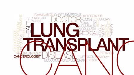 respiração : Lung transplant animated word cloud, text design animation. Kinetic typography.