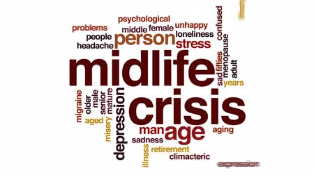 tek başına : Midlife crisis animated word cloud, text design animation.