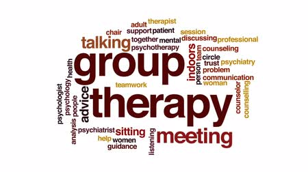 counselling : Group therapy animated word cloud, text design animation.