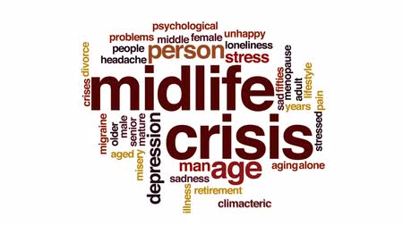 idade média : Midlife crisis animated word cloud, text design animation.