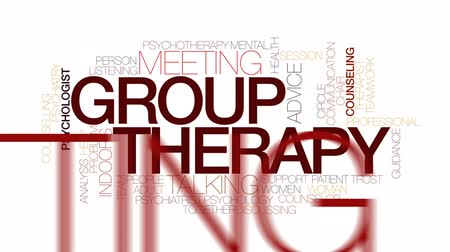 counselling : Group therapy animated word cloud, text design animation. Kinetic typography.