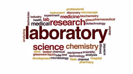 artigos de vidro : Laboratory animated word cloud, text design animation.