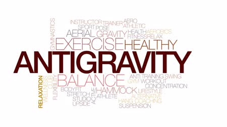 aerobic : Antigravity animated word cloud, text design animation. Kinetic typography.