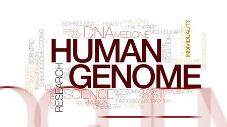 evolução : Human genome animated word cloud, text design animation. Kinetic typography. Stock Footage