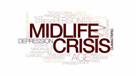 idade média : Midlife crisis animated word cloud, text design animation. Kinetic typography. Stock Footage