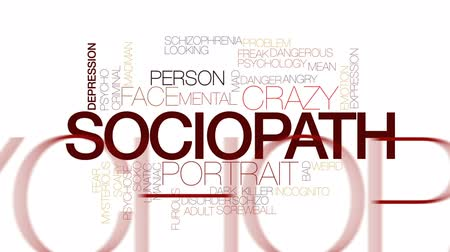 significar : Sociopath animated word cloud, text design animation. Kinetic typography. Vídeos