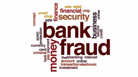 chmura : Bank fraud animated word cloud, text design animation. Wideo