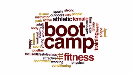 buty : Boot camp animated word cloud, text design animation.