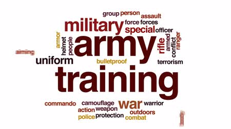 bulletproof : Army training animated word cloud, text design animation. Stock Footage