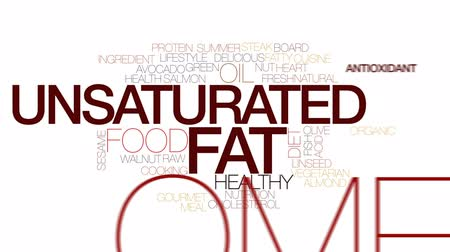amêndoas : Unsaturated fat animated word cloud, text design animation. Kinetic typography.