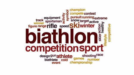 лыжник : Biathlon animated word cloud, text design animation.