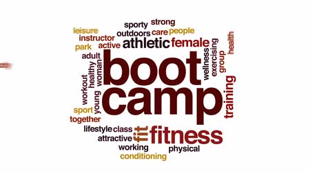 тренер : Boot camp animated word cloud, text design animation.