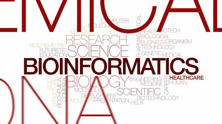 organizma : Bioinformatics animated word cloud, text design animation. Kinetic typography. Stok Video