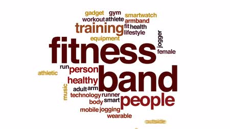 fitnes : Fitness band animated word cloud, text design animation.
