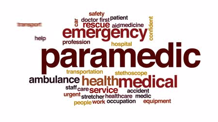 first : Paramedic animated word cloud, text design animation.