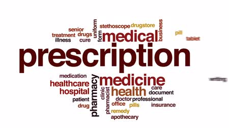 healthy office : Prescription animated word cloud, text design animation.