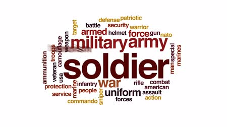 veterano : Soldier animated word cloud, text design animation. Stock Footage