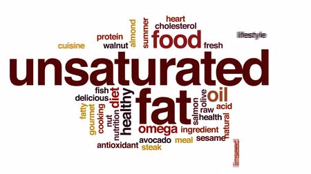 fatty acid : Unsaturated fat animated word cloud, text design animation. Stock Footage