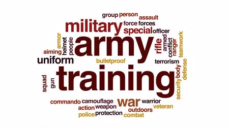 veterano : Army training animated word cloud, text design animation. Stock Footage